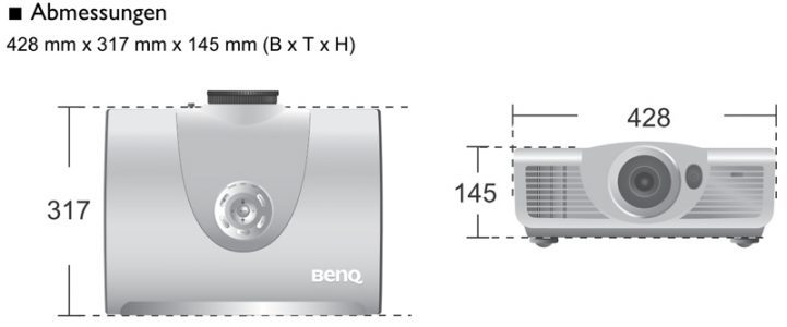 Benq W7500 Beamer Screenshot Abmessungen