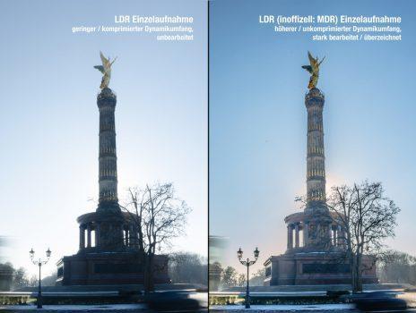 Vergleich zwischen LDR Einzelaufnahme mit geringem und höherem Dynamikumfang