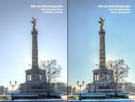 Vergleich von HDR aus einer Belichtungsreihe realistisch, naturnah und surreal, überzeichnet