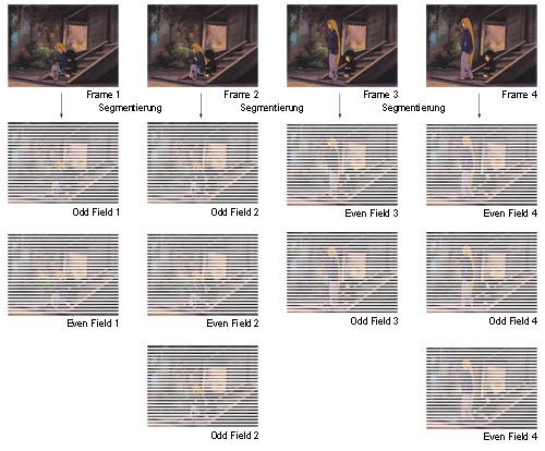 Schaubild: NTSC - Frame zu Field (3:2 Pulldown)