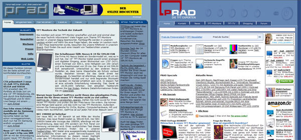 Screenshot Prad Webseite