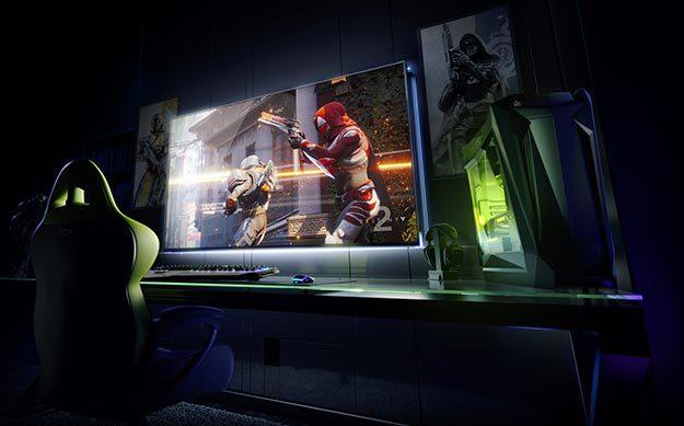 Gaming Monitor auf Schreibtisch