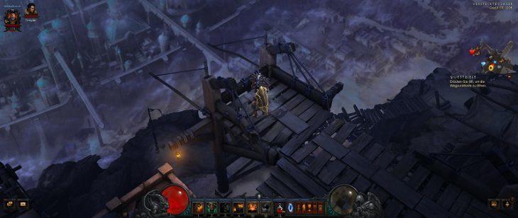 Bild zeigt das Spiel Diablo 3 im 21:9 Format mit mehr Sichtweite.