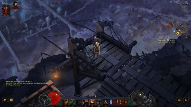 Bild zeigt das Spiel Diablo 3 im 16:9-Format mit herkömmlicher Sichtweite.