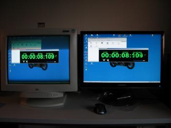 Beispiele für die alte Methode zur Bestimmung des Input Lags mit Flash-Basierter Stoppuhr:CTX EX1200 vs. Samsung HM2493