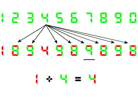 Mögliche Überlagerungen einer Siebensegmentanzeige mit der Ziffer 4