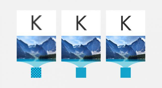 Grafik von links nach rechts: Verbesserung der Kantenschärfe durch höhere Auflösungen