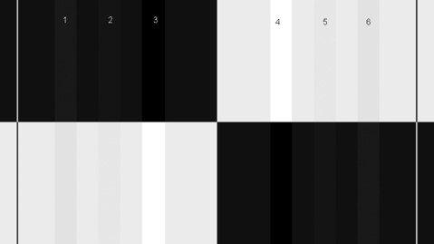 Der LG 32GK850G-B kann die Balken 3 und 4 im schwarzen Bereich nicht erkennbar darstellen
