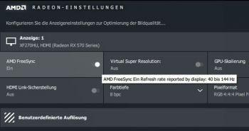 FreeSync-Bereich per HDMI