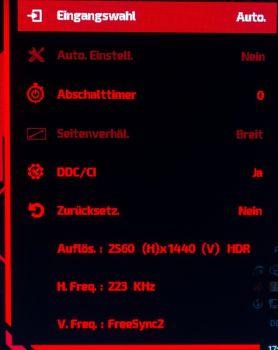 Das OSD zeigt den HDR-Betrieb an