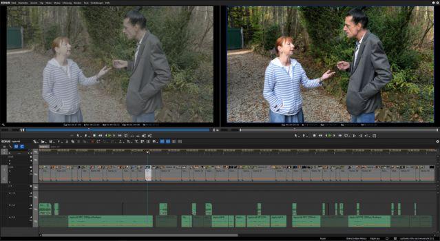 Darstellung eines Videos in Edius. Direkt aus der Kamera (links) und nach Zuordnung einer 3D-LUT und kleineren Farbanpassungen (rechts)
