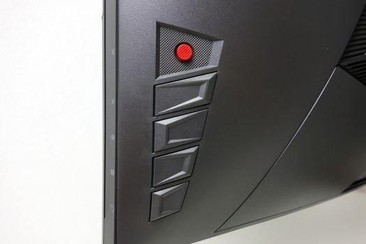 Fünf-Wege-Joystick und vier zusätzliche Bedientasten an der untern Rückseite des Displaygehäuses