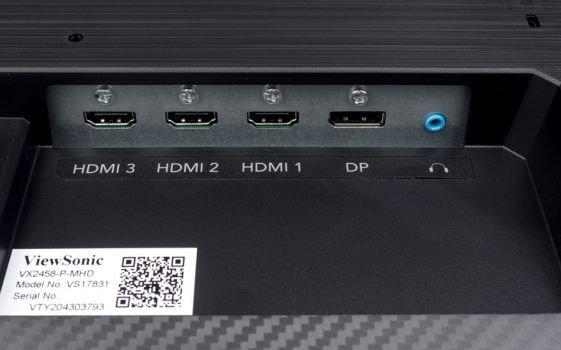 Anschluss-Panel des Testmodells ViewSonic VX2458-P-MHD